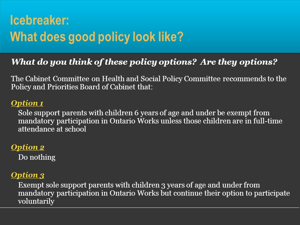 Icebreaker: What does good policy look like? What do you think of these policy options? Are they options? The Cabinet Committee on Health and Social P