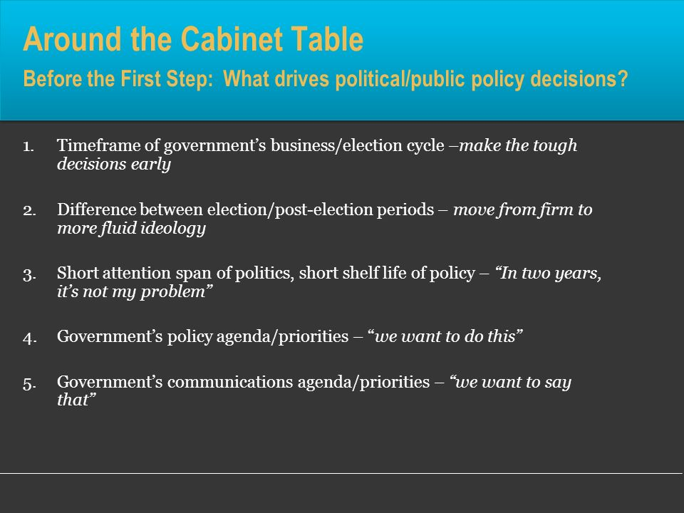 1.Timeframe of governments business/election cycle –make the tough decisions early 2.Difference between election/post-election periods – move from fir
