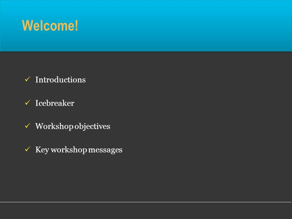 Welcome! Introductions Icebreaker Workshop objectives Key workshop messages