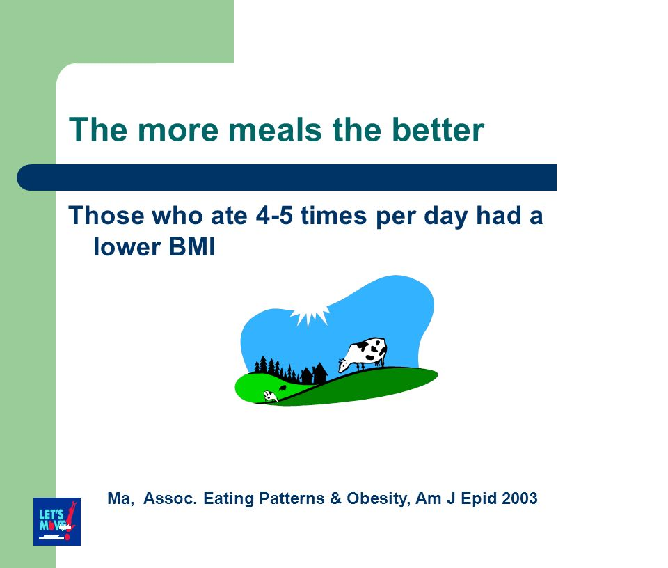 The more meals the better Those who ate 4-5 times per day had a lower BMI Ma, Assoc. Eating Patterns & Obesity, Am J Epid 2003