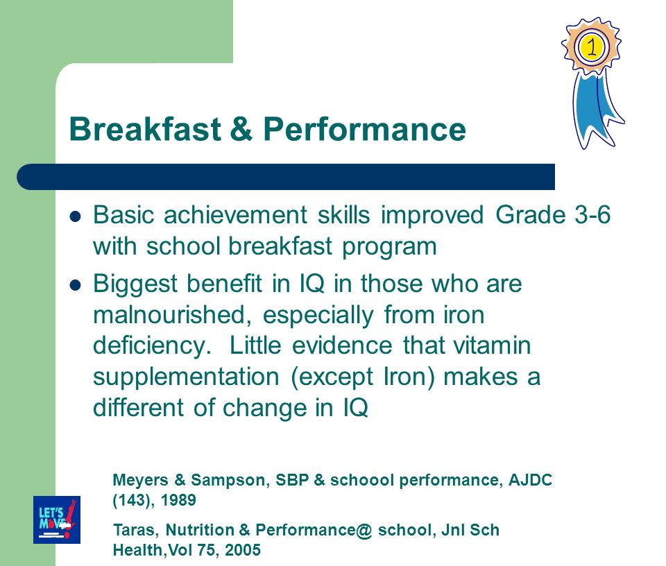 Breakfast & Performance Basic achievement skills improved Grade 3-6 with school breakfast program Biggest benefit in IQ in those who are malnourished,