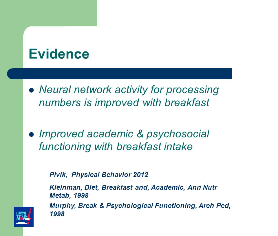 Evidence Neural network activity for processing numbers is improved with breakfast Improved academic & psychosocial functioning with breakfast intake
