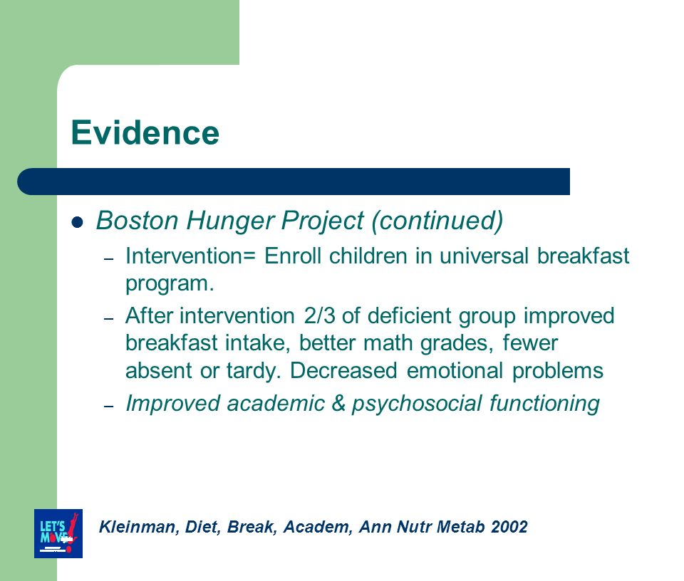 Evidence Boston Hunger Project (continued) – Intervention= Enroll children in universal breakfast program. – After intervention 2/3 of deficient group