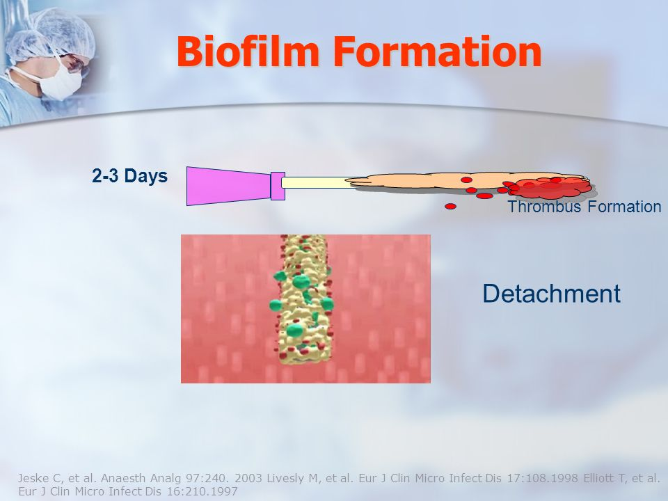 Biofilm Formation 2-3 Days Thrombus Formation Jeske C, et al. Anaesth Analg 97:240. 2003 Livesly M, et al. Eur J Clin Micro Infect Dis 17:108.1998 Ell