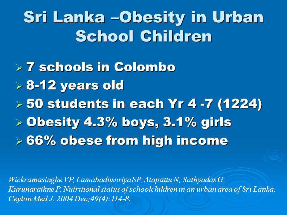 Sri Lanka –Obesity in Urban School Children 7 schools in Colombo 7 schools in Colombo 8-12 years old 8-12 years old 50 students in each Yr 4 -7 (1224)