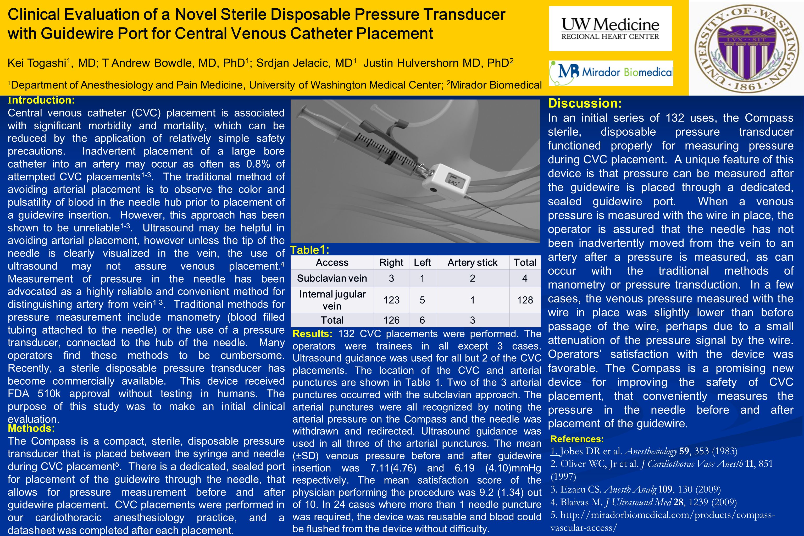 Clinical Evaluation of a Novel Sterile Disposable Pressure Transducer with Guidewire Port for Central Venous Catheter Placement Kei Togashi 1, MD; T A