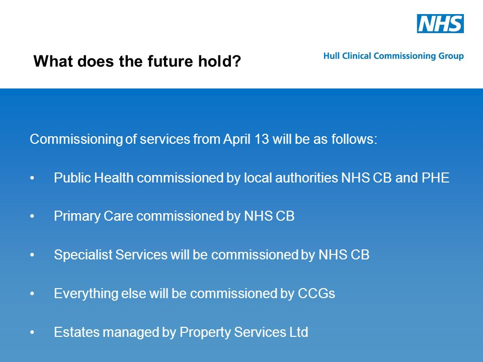 Commissioning of services from April 13 will be as follows: Public Health commissioned by local authorities NHS CB and PHE Primary Care commissioned b