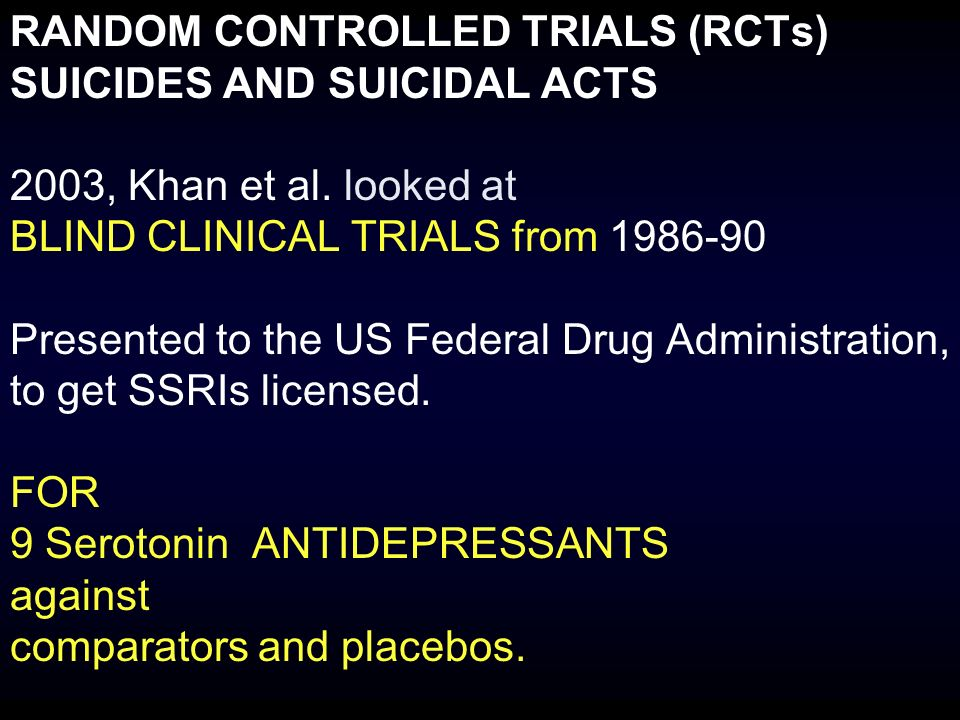 RANDOM CONTROLLED TRIALS (RCTs) SUICIDES AND SUICIDAL ACTS 2003, Khan et al.