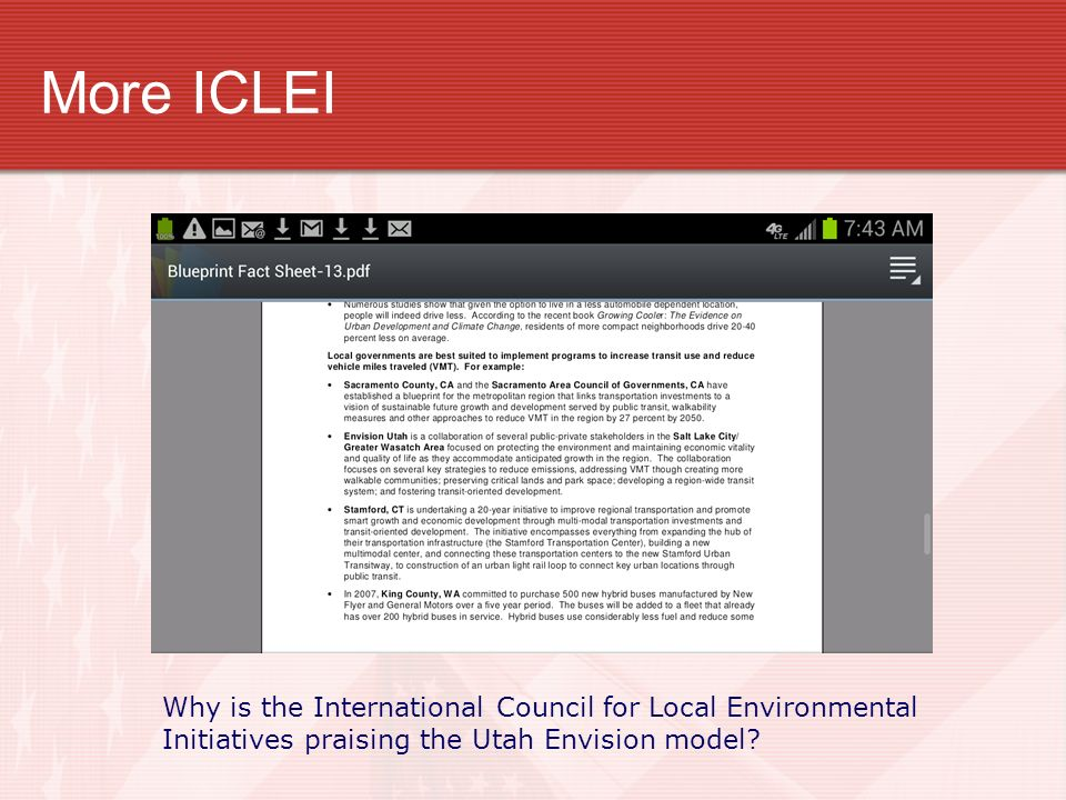 More ICLEI Why is the International Council for Local Environmental Initiatives praising the Utah Envision model?