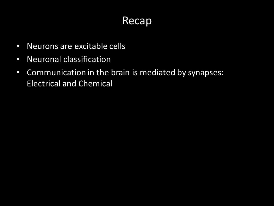 Recap Neurons are excitable cells Neuronal classification Communication in the brain is mediated by synapses: Electrical and Chemical