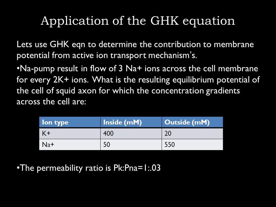Application of the GHK equation Lets use GHK eqn to determine the contribution to membrane potential from active ion transport mechanisms. Na-pump res