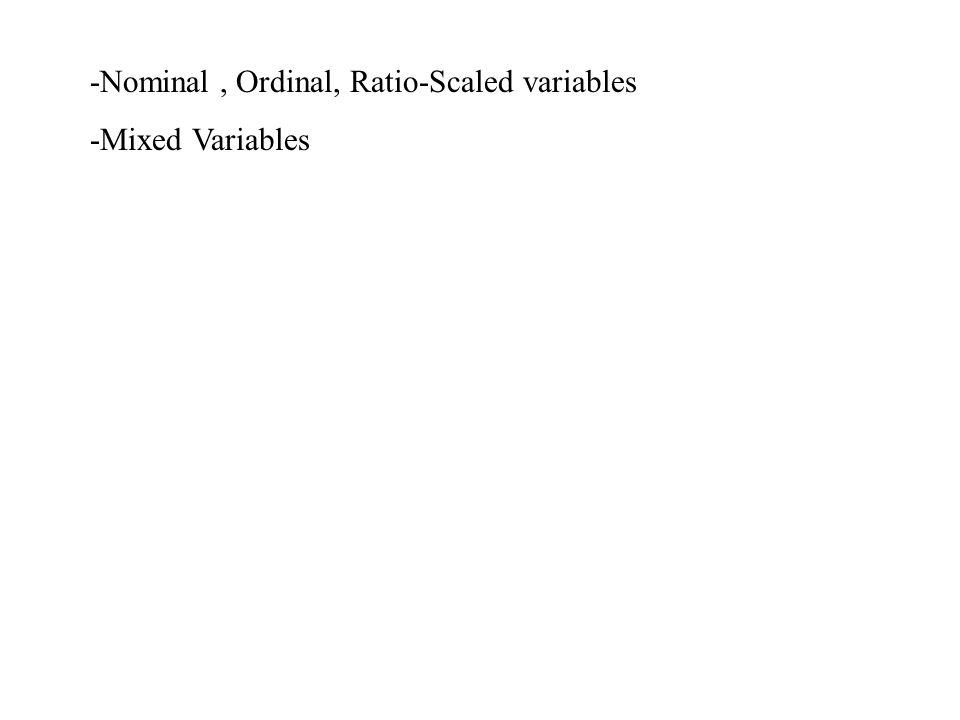 -Nominal, Ordinal, Ratio-Scaled variables -Mixed Variables