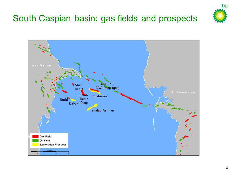 44 South Caspian basin: gas fields and prospects Babek Shafag Asiman Absheron Shah Deniz ACG (oil) ACG Deep (gas) Umid Shah Deniz Deep