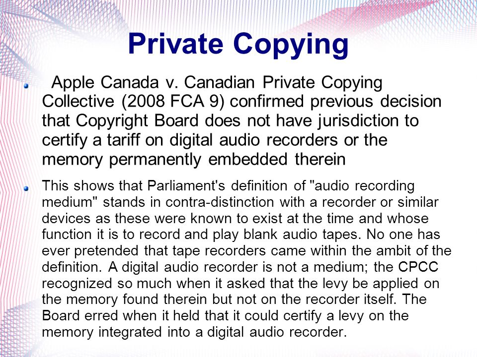 Private Copying Apple Canada v.