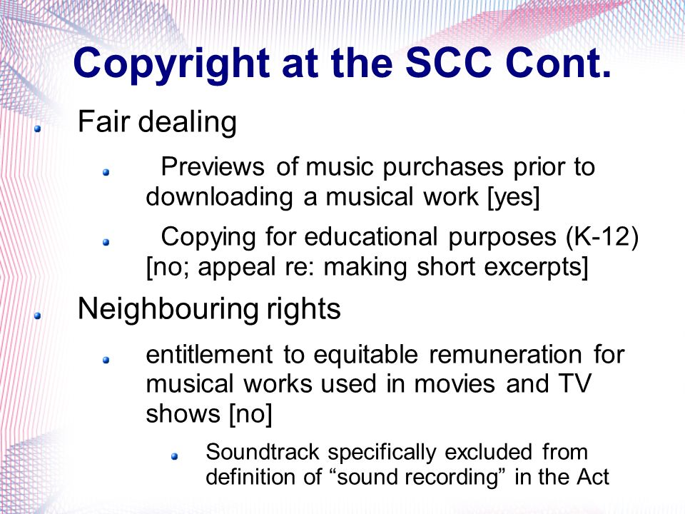 Copyright at the SCC Cont.
