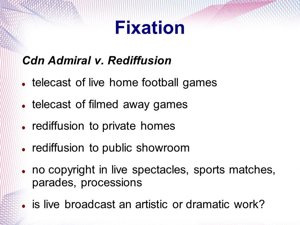 Fixation Cdn Admiral v. Rediffusion telecast of live home football games telecast of filmed away games rediffusion to private homes rediffusion to pub