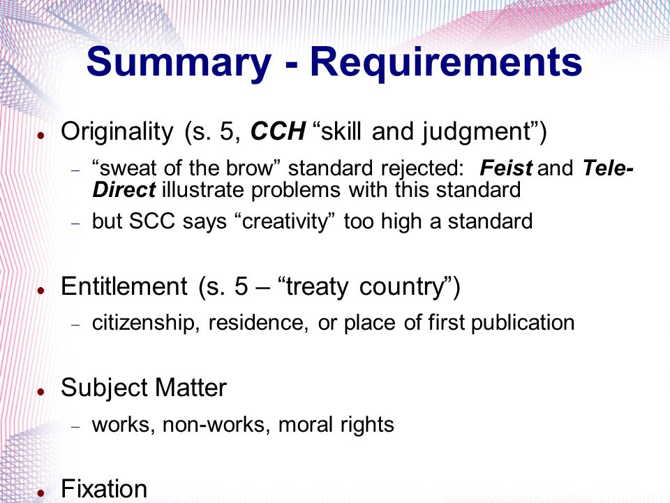 Summary - Requirements Originality (s.