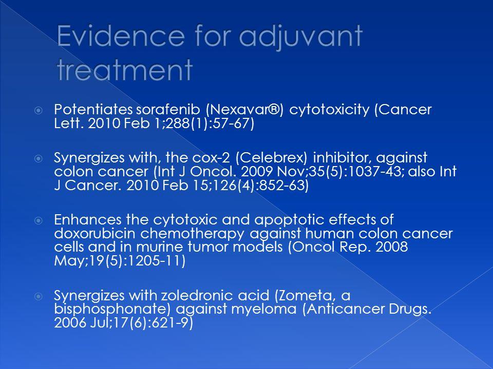 Potentiates sorafenib (Nexavar®) cytotoxicity (Cancer Lett. 2010 Feb 1;288(1):57-67) Synergizes with, the cox-2 (Celebrex) inhibitor, against colon ca
