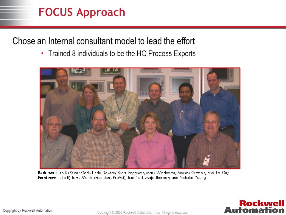 Copyright by Rockwell Automation Copyright © 2009 Rockwell Automation, Inc. All rights reserved. FOCUS Approach Chose an Internal consultant model to