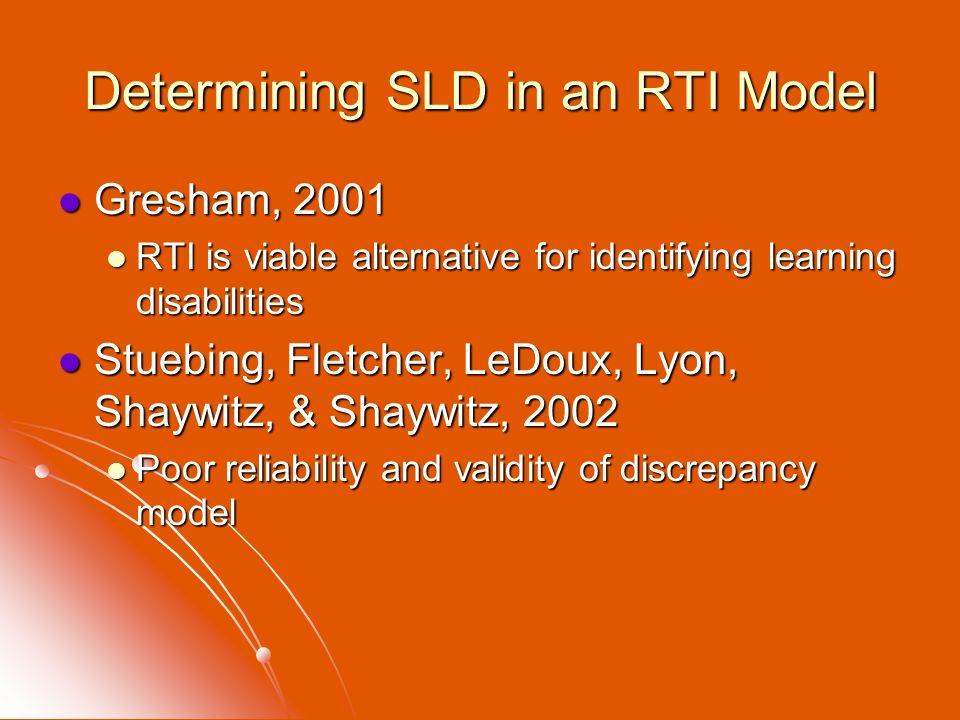 Determining SLD in an RTI Model Gresham, 2001 Gresham, 2001 RTI is viable alternative for identifying learning disabilities RTI is viable alternative