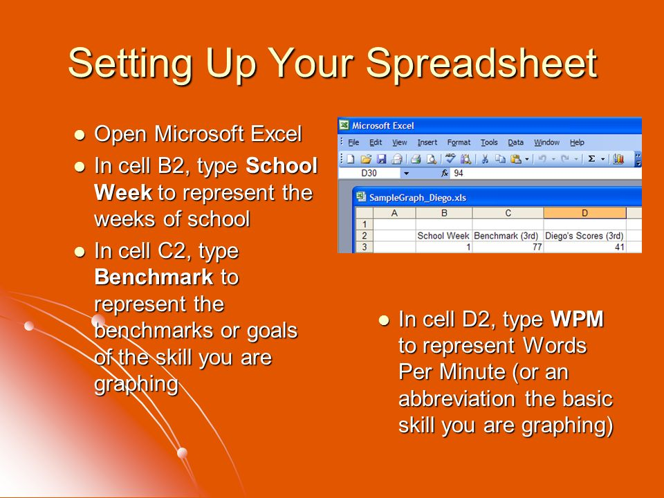Setting Up Your Spreadsheet Open Microsoft Excel Open Microsoft Excel In cell B2, type School Week to represent the weeks of school In cell B2, type S