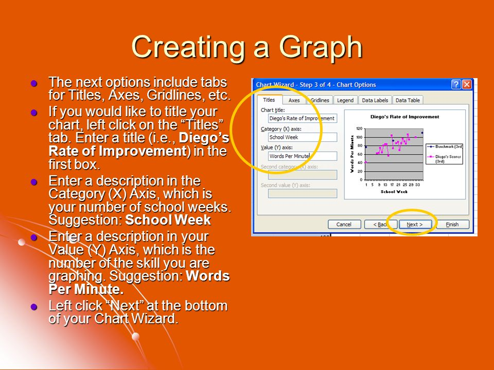 Creating a Graph The next options include tabs for Titles, Axes, Gridlines, etc. The next options include tabs for Titles, Axes, Gridlines, etc. If yo