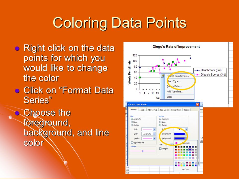 Coloring Data Points Right click on the data points for which you would like to change the color Right click on the data points for which you would li