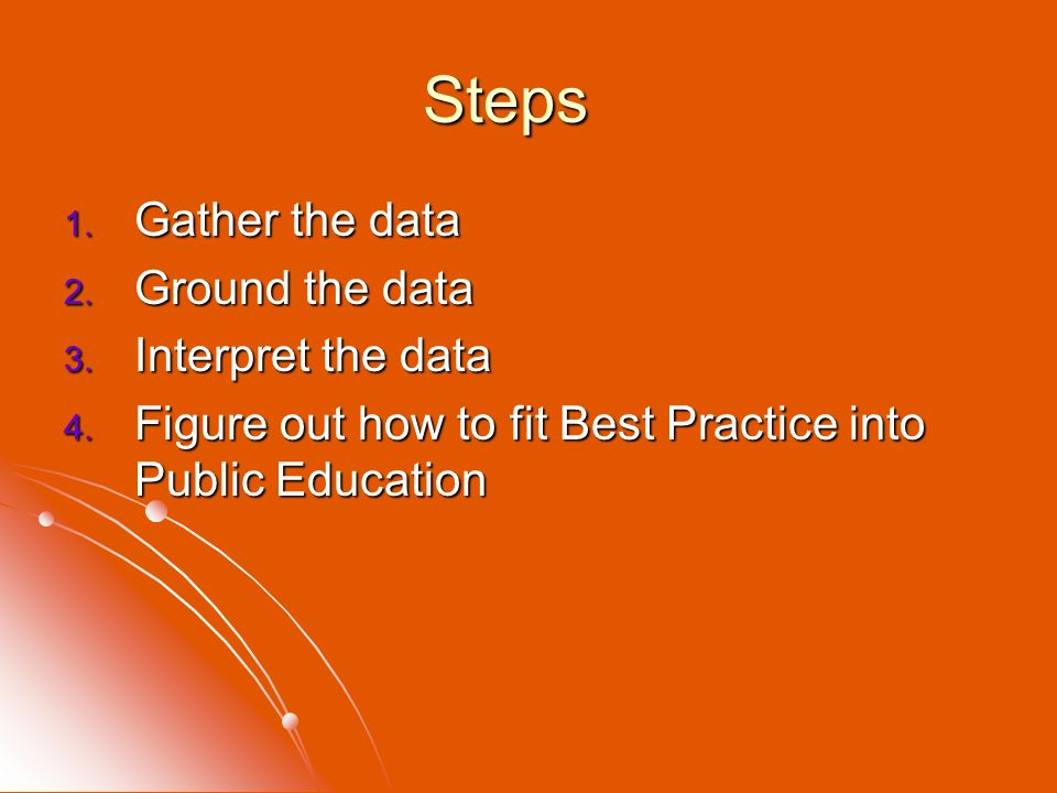 Steps 1. Gather the data 2. Ground the data 3. Interpret the data 4. Figure out how to fit Best Practice into Public Education
