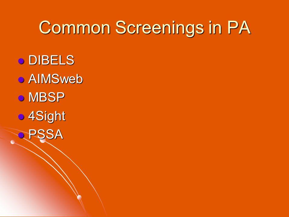 Common Screenings in PA DIBELS DIBELS AIMSweb AIMSweb MBSP MBSP 4Sight 4Sight PSSA PSSA