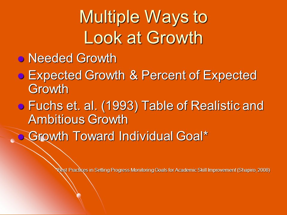 Multiple Ways to Look at Growth Needed Growth Needed Growth Expected Growth & Percent of Expected Growth Expected Growth & Percent of Expected Growth