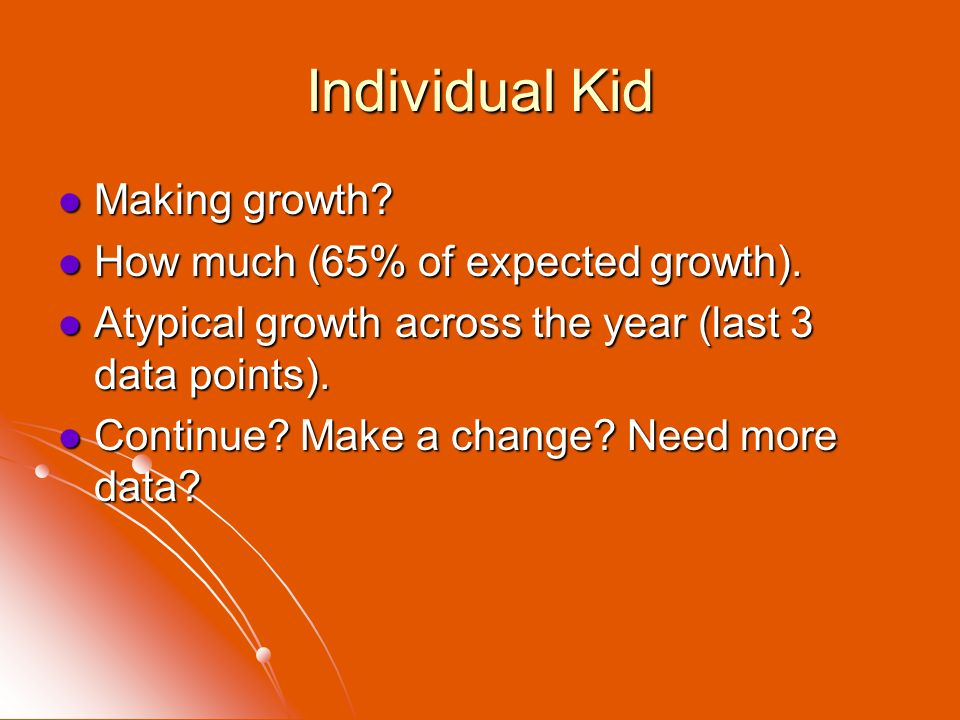 Individual Kid Making growth? Making growth? How much (65% of expected growth). How much (65% of expected growth). Atypical growth across the year (la