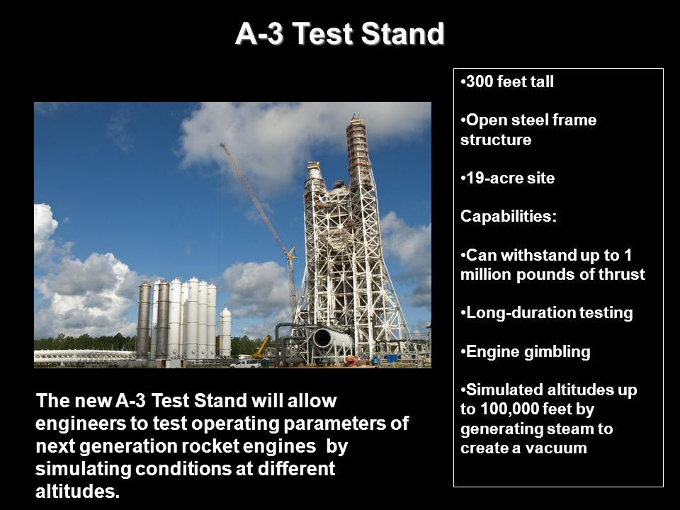 A-3 Test Stand The new A-3 Test Stand will allow engineers to test operating parameters of next generation rocket engines by simulating conditions at