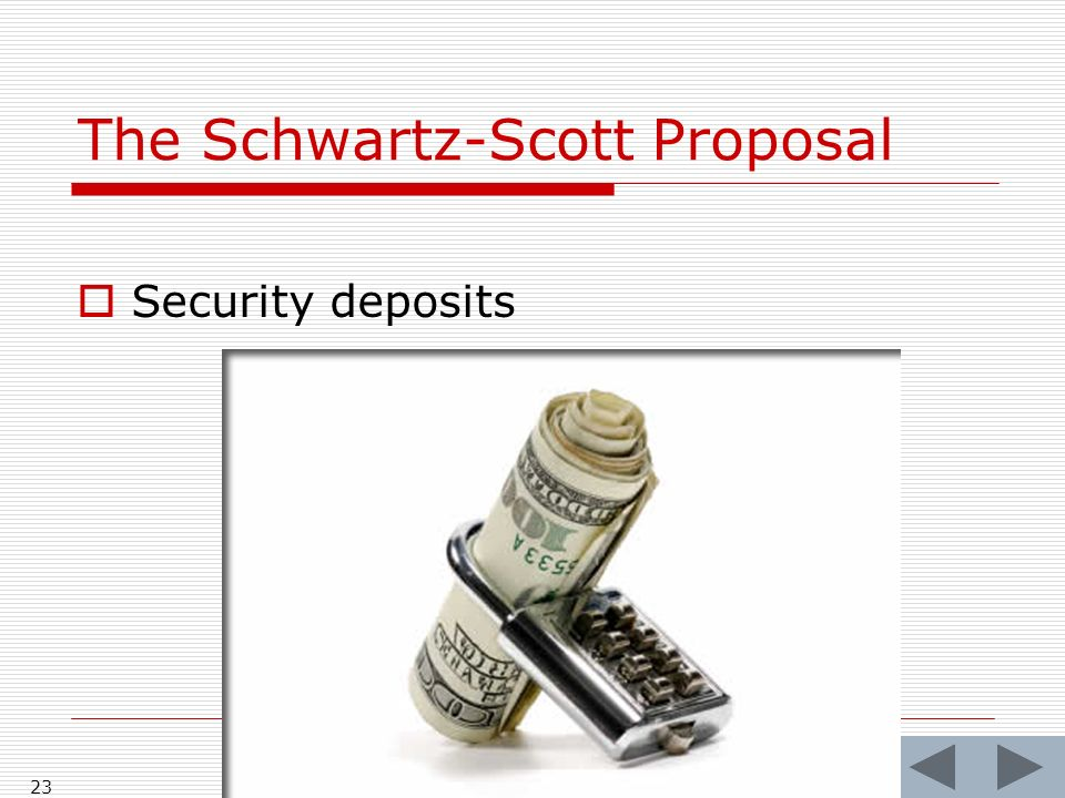 The Schwartz-Scott Proposal Security deposits 23