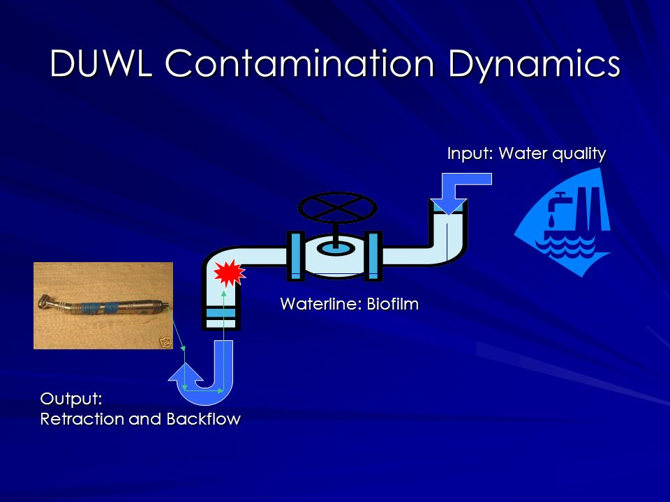 DUWL Contamination Dynamics Input: Water quality Waterline: Biofilm Output: Retraction and Backflow