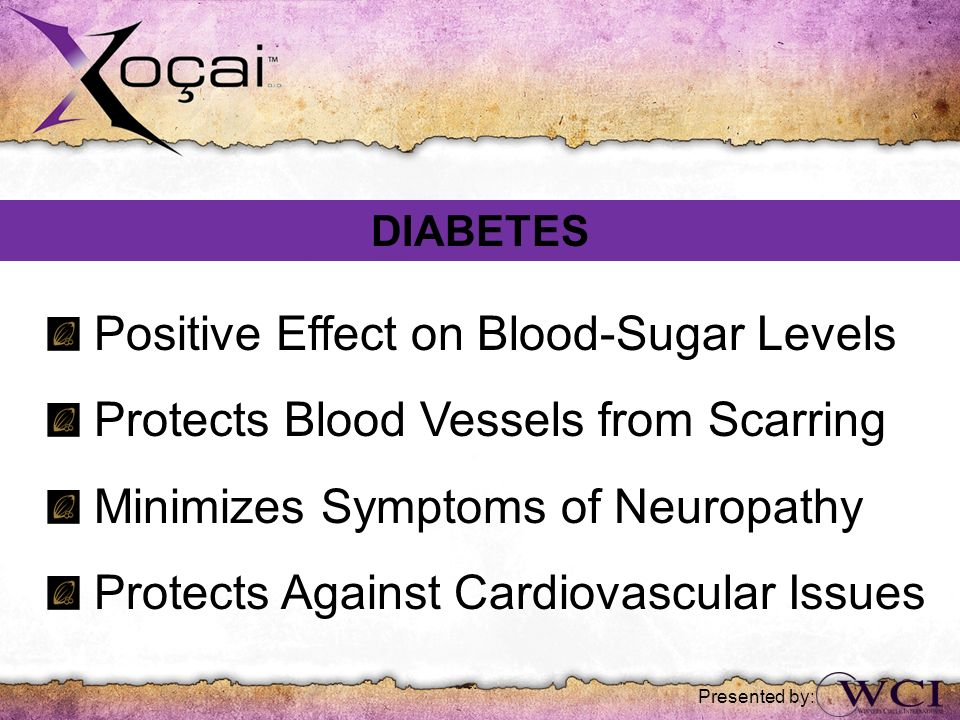 Presented by: Positive Effect on Blood-Sugar Levels Protects Blood Vessels from Scarring Minimizes Symptoms of Neuropathy Protects Against Cardiovascu