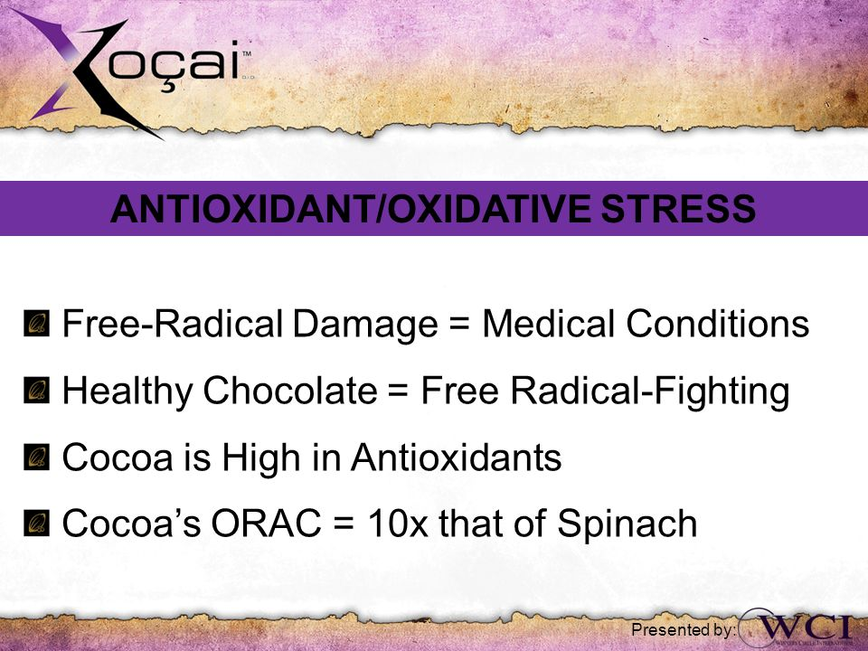 Free-Radical Damage = Medical Conditions Healthy Chocolate = Free Radical-Fighting Cocoa is High in Antioxidants Cocoas ORAC = 10x that of Spinach ANT