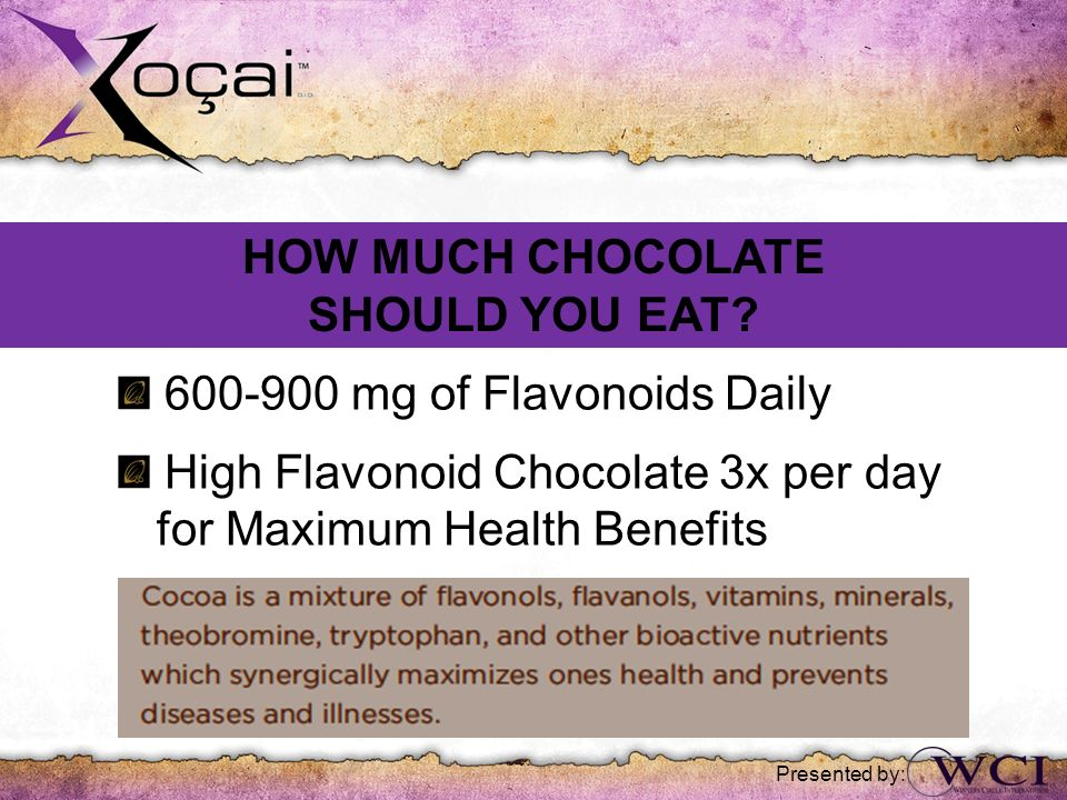 Presented by: 600-900 mg of Flavonoids Daily High Flavonoid Chocolate 3x per day for Maximum Health Benefits HOW MUCH CHOCOLATE SHOULD YOU EAT?