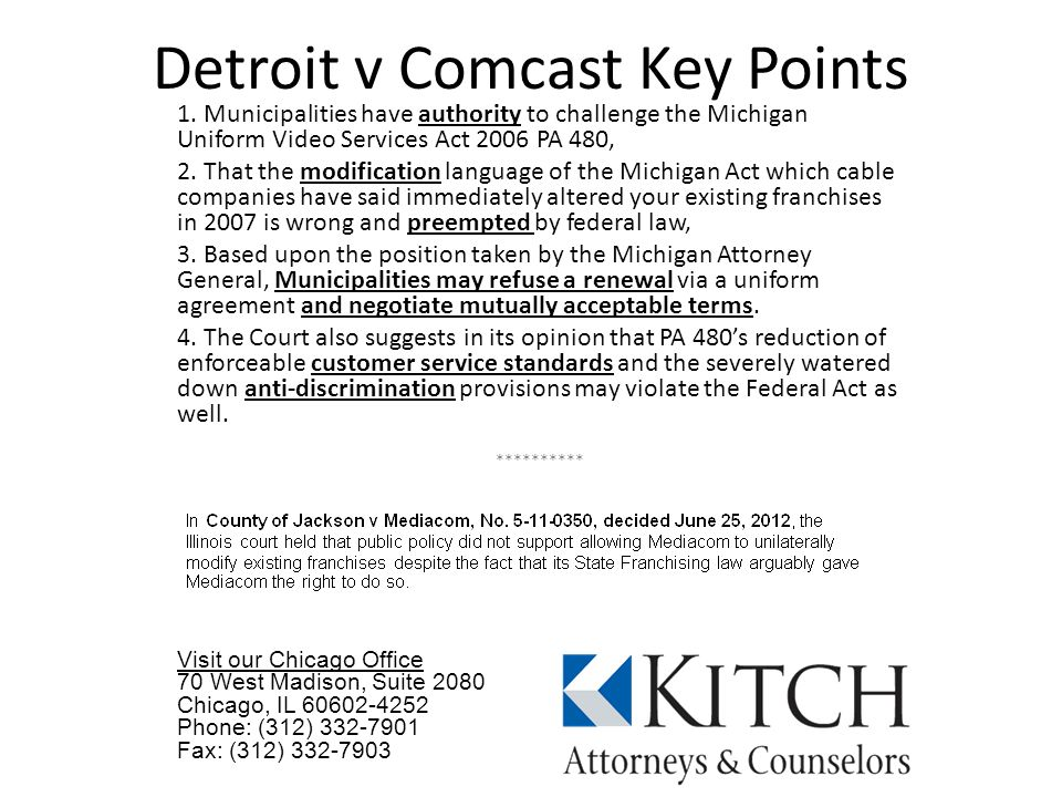 Detroit v Comcast Key Points 1.
