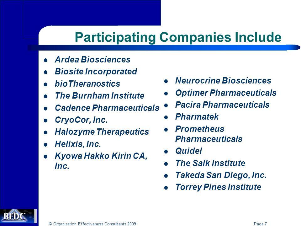 © Organization Effectiveness Consultants 2009 Page 7 Participating Companies Include Ardea Biosciences Biosite Incorporated bioTheranostics The Burnham Institute Cadence Pharmaceuticals CryoCor, Inc.