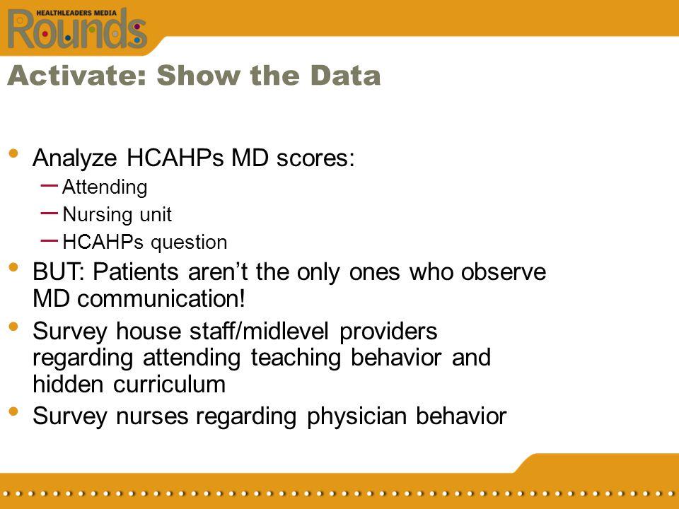 Activate: Show the Data Analyze HCAHPs MD scores: – Attending – Nursing unit – HCAHPs question BUT: Patients arent the only ones who observe MD commun