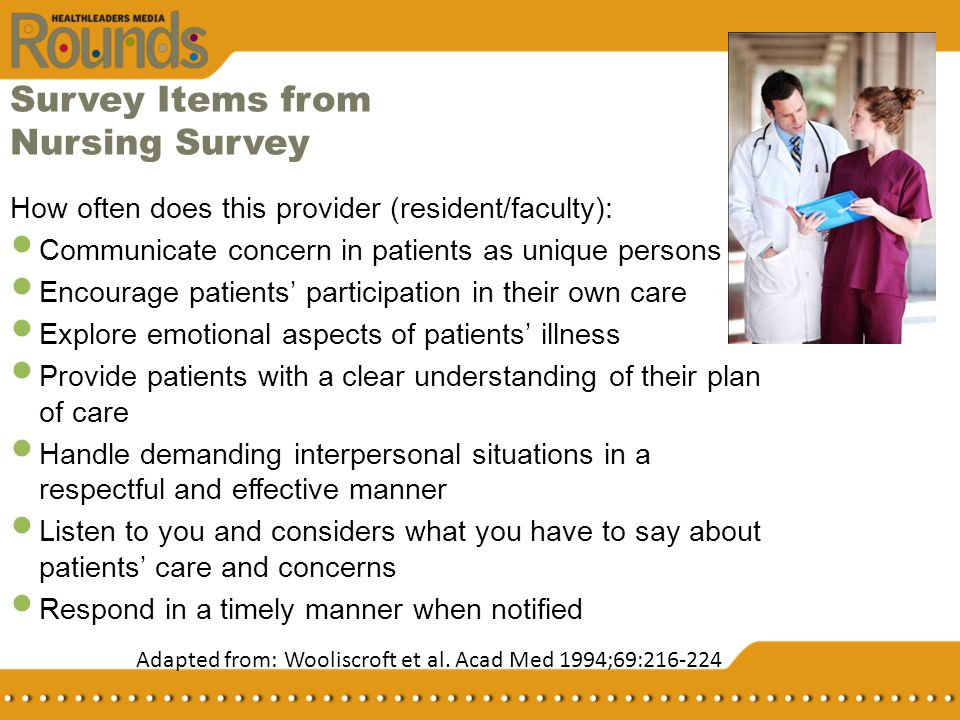 Survey Items from Nursing Survey How often does this provider (resident/faculty): Communicate concern in patients as unique persons Encourage patients