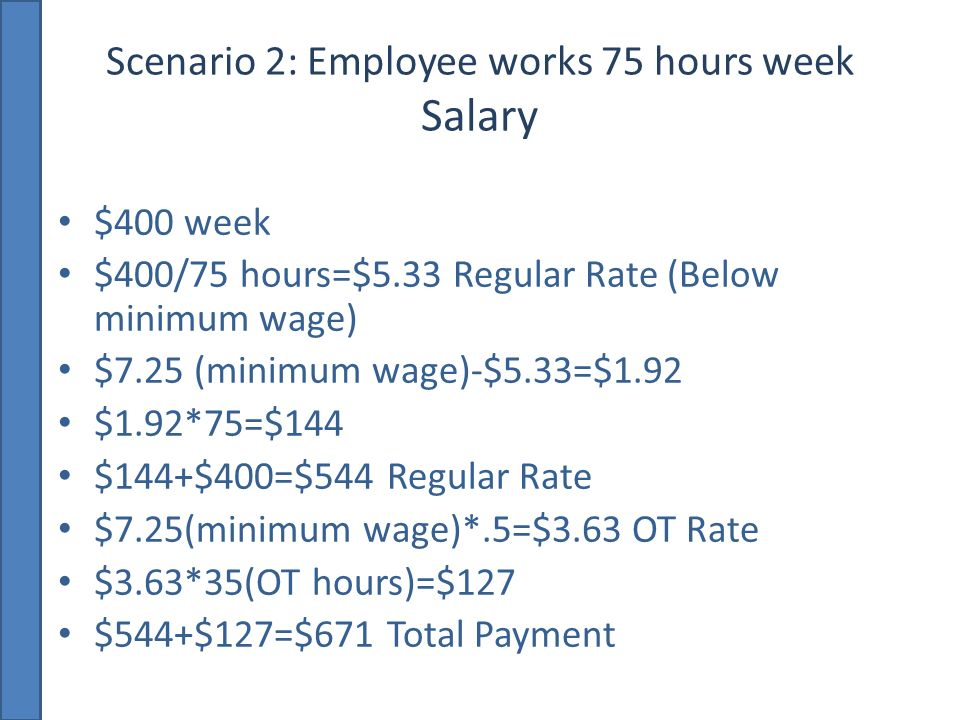 Scenario 2: Employee works 75 hours week Salary $400 week $400/75 hours=$5.33 Regular Rate (Below minimum wage) $7.25 (minimum wage)-$5.33=$1.92 $1.92