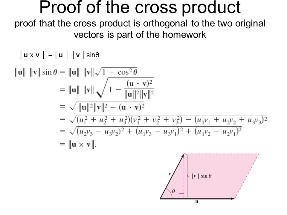 """Presentation """"11.4 The Cross product For an animation of this ..."""