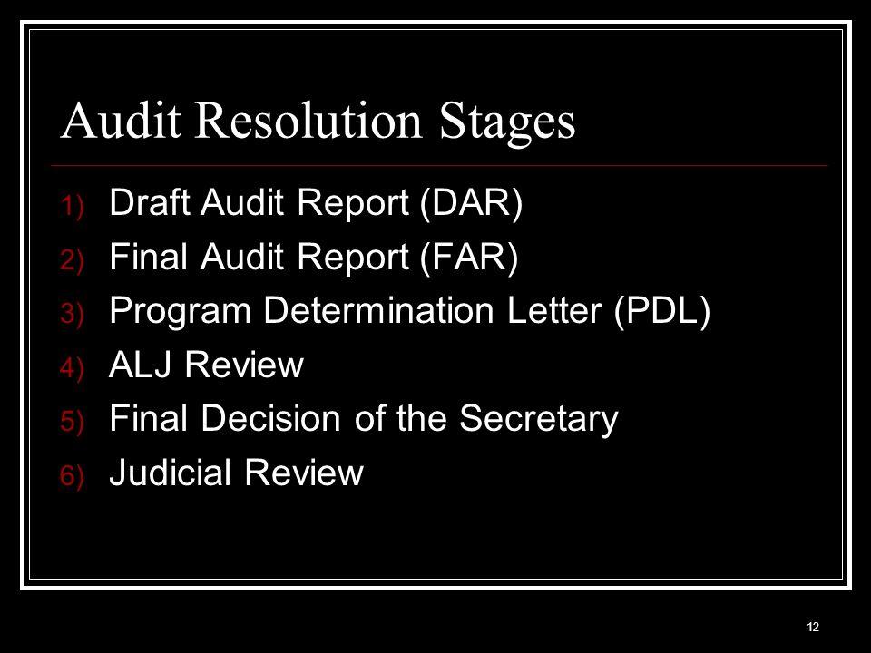 Audit Resolution Stages 1) Draft Audit Report (DAR) 2) Final Audit Report (FAR) 3) Program Determination Letter (PDL) 4) ALJ Review 5) Final Decision