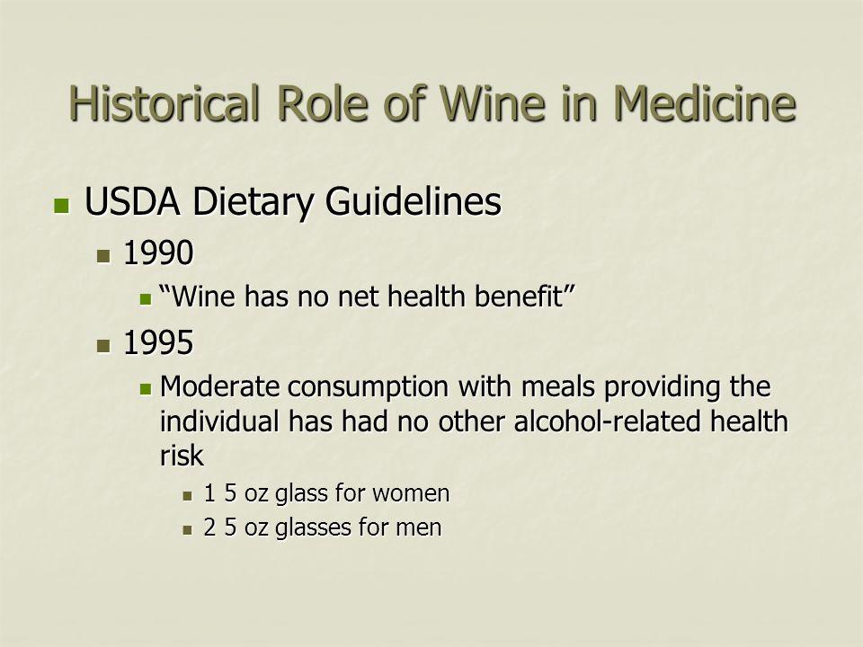 Historical Role of Wine in Medicine USDA Dietary Guidelines USDA Dietary Guidelines 1990 1990 Wine has no net health benefit Wine has no net health be