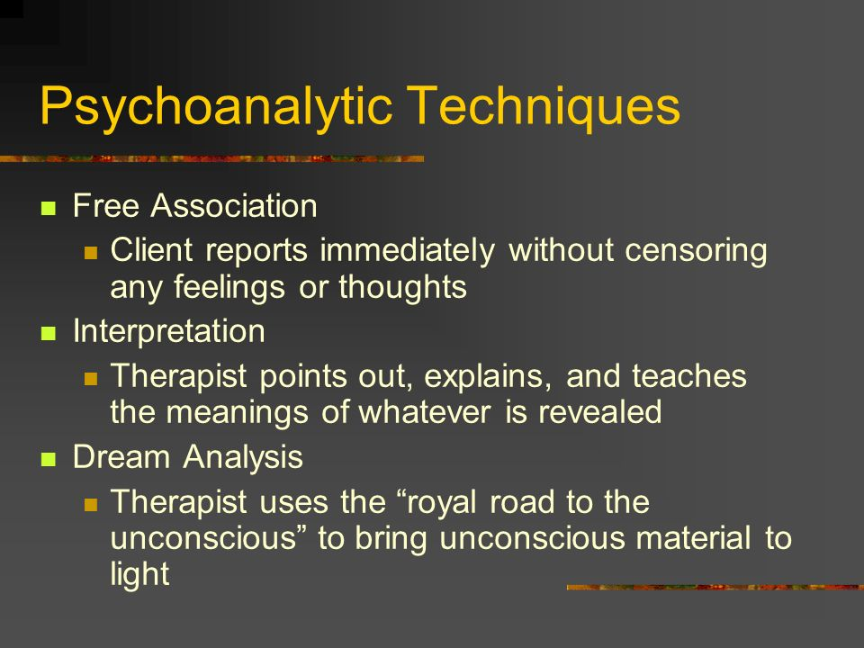 Psychoanalytic Techniques Free Association Client reports immediately without censoring any feelings or thoughts Interpretation Therapist points out,