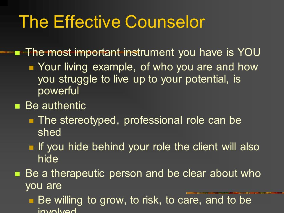 The Effective Counselor The most important instrument you have is YOU Your living example, of who you are and how you struggle to live up to your pote