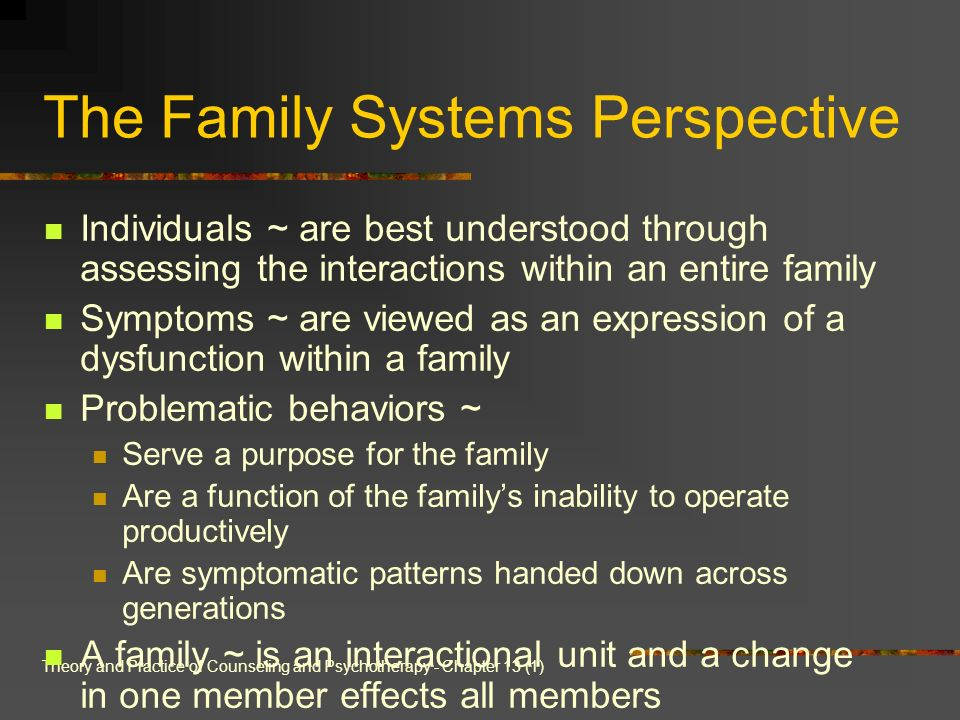 Theory and Practice of Counseling and Psychotherapy - Chapter 13 (1) The Family Systems Perspective Individuals ~ are best understood through assessin