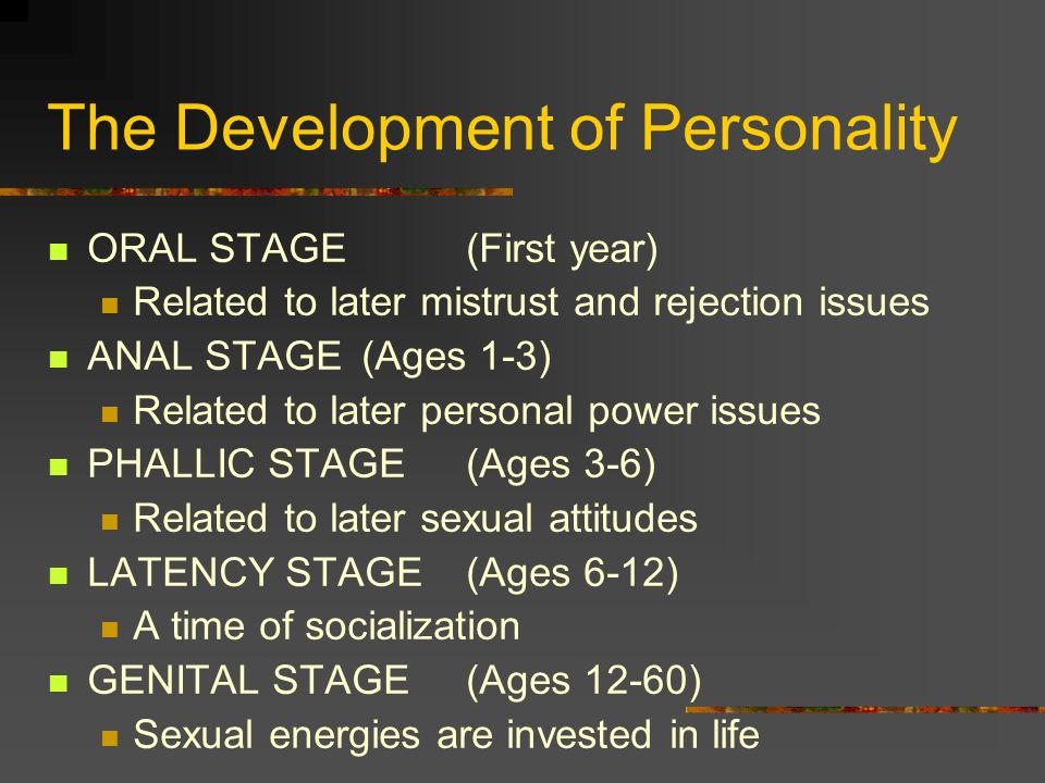 The Development of Personality ORAL STAGE(First year) Related to later mistrust and rejection issues ANAL STAGE (Ages 1-3) Related to later personal p