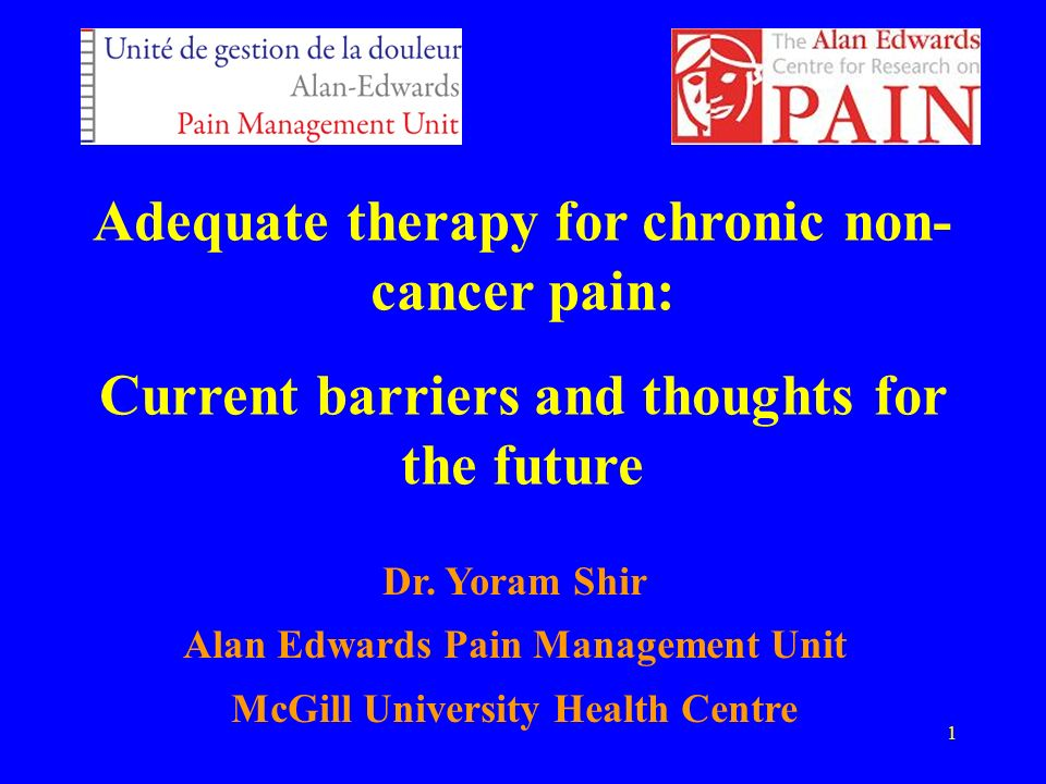 1 Adequate therapy for chronic non- cancer pain: Current barriers and thoughts for the future Dr. Yoram Shir Alan Edwards Pain Management Unit McGill